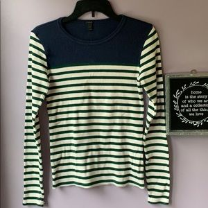 J. Crew   Striped Emerald Green Cable Knit Sweater